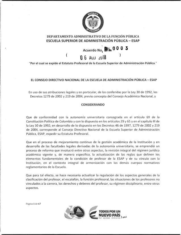 Estatuto Profesoral ESAP - Acuerdo 0003 de Agosto 6 de 2018