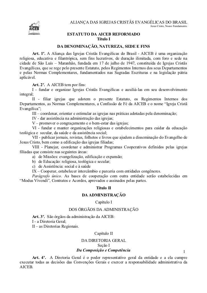 ALIANÇA DAS IGREJAS CRISTÃS EVANGÉLICAS DO BRASIL                                                                         ...