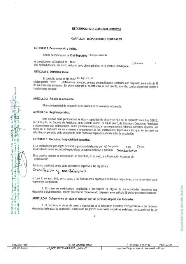 Escopiaaut�nticadedocumentoelectr�nico DILIGENCIA:ParahacerconstarquelosEstatutosdelaEntidadC.D.10AMIGOSSINLIMITES inscrit...
