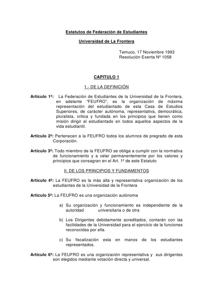 Estatutos de Federación de Estudiantes                            Universidad de La Frontera                              ...