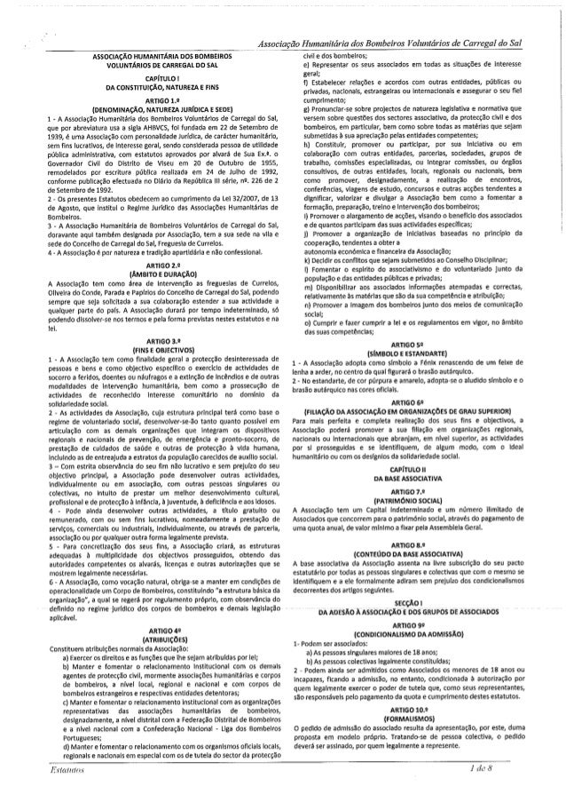 Associação H : imunitário dos Bombeiros Voluntários de Carregal do Sal  ASSOCIAÇÃO HUMANITÁRIA nos BOMBEIROS VOLUNTÁRIOS D...