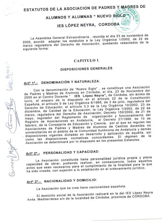 """ESTATUTOS DE LA ASOCIACION DE PADRES         ALUMNOS Y ALUMNAS """" NUEVO  IES LÓPEZ NEYRA,  CORD  --. _L x-  La Asamblea Gen..."""