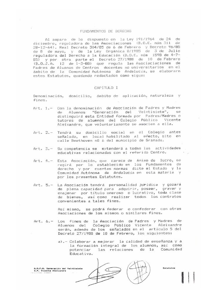 Estatutos AMPA CEIP Vicente Aleixandre