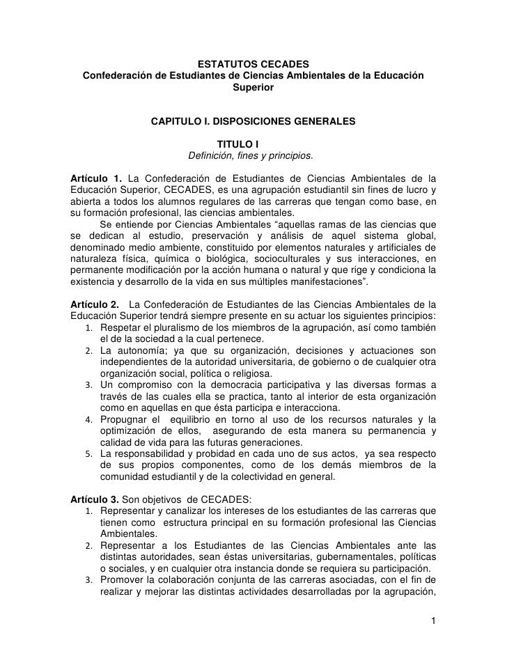 ESTATUTOS CECADES  Confederación de Estudiantes de Ciencias Ambientales de la Educación                                Sup...