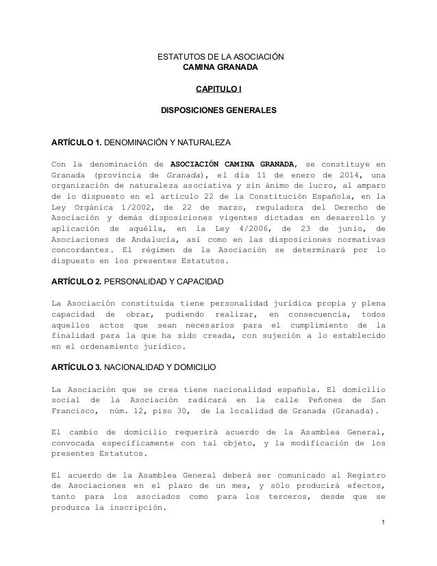 ESTATUTOSDELAASOCIACIÓN CAMINAGRANADA CAPITULOI DISPOSICIONESGENERALES  ARTÍCULO1.DENOMINACIÓNYNATURALEZA C n l ...