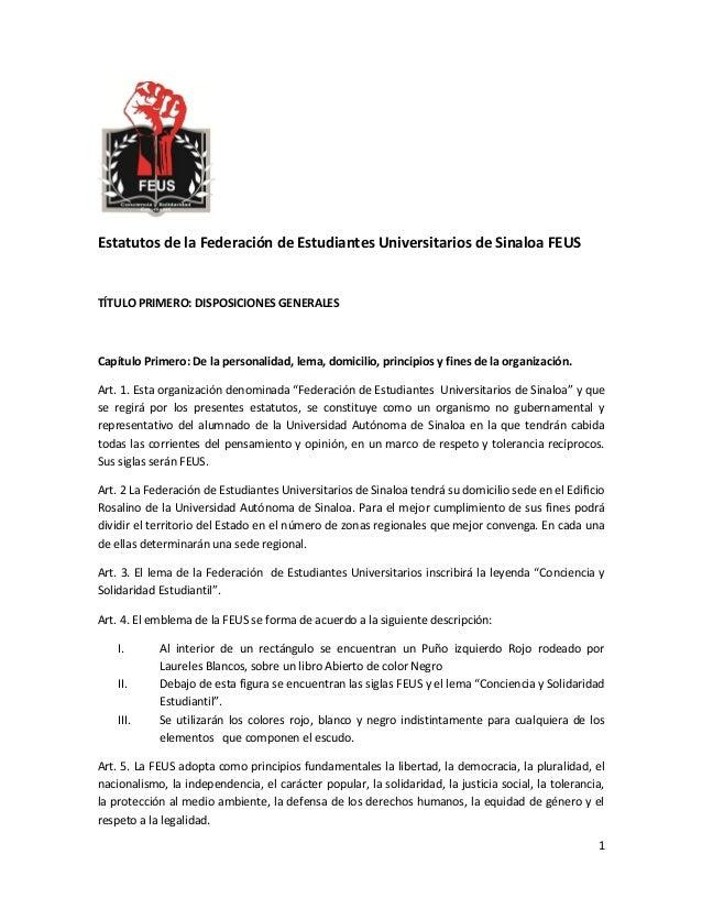 Estatutos de la federación de estudiantes universitarios de sinaloa f…
