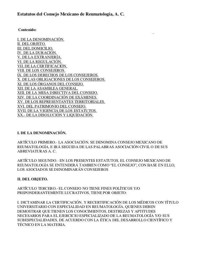 Estatutos del consejo mexicano de reumatología