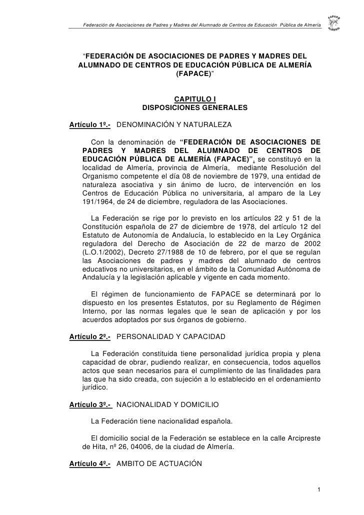"""Federación de Asociaciones de Padres y Madres del Alumnado de Centros de Educación Pública de Almería        """"FEDERACIÓN D..."""