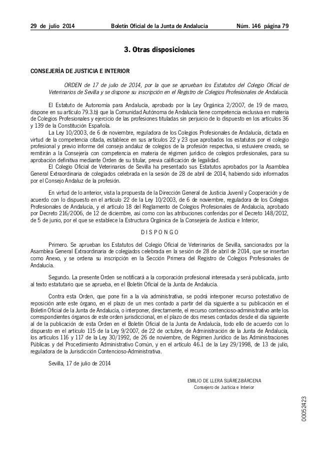29 de julio 2014 Boletín Oficial de la Junta de Andalucía Núm. 146  página 79 3. Otras disposiciones Consejería de Jus...