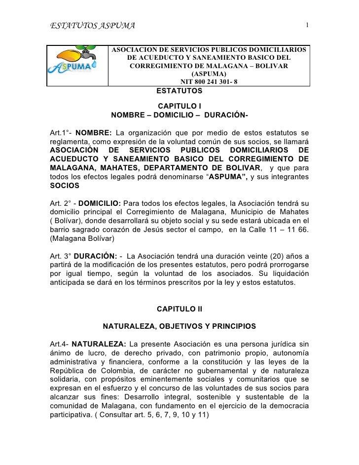 ESTATUTOS ASPUMA                                                            1                     ASOCIACION DE SERVICIOS ...