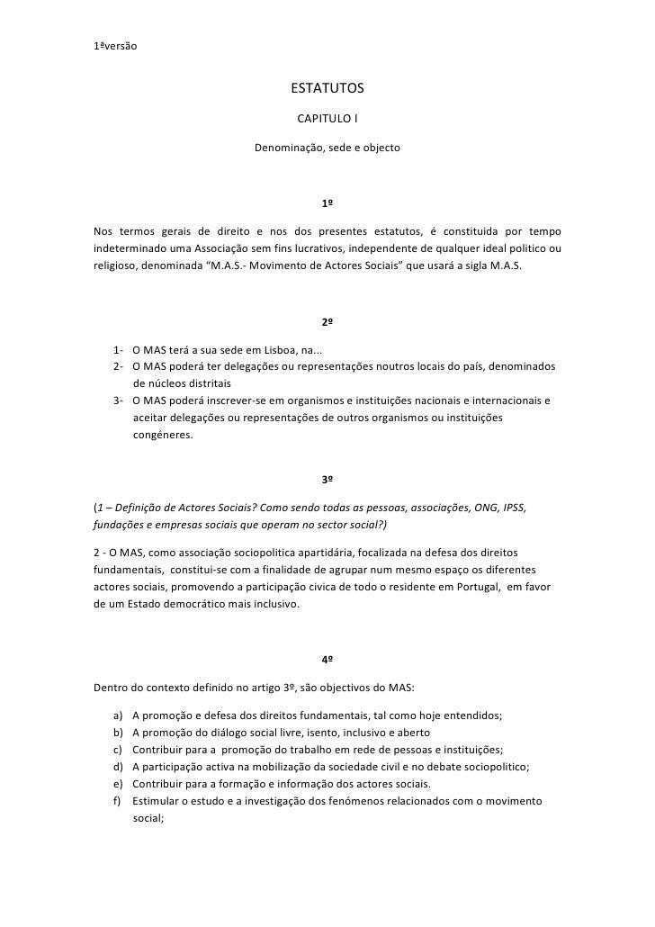 1ªversão                                          ESTATUTOS                                         CAPITULO I            ...