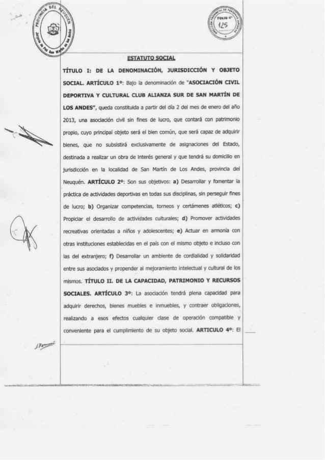 """; SOCIAL.  AR1'icuLo 1°:  Bajo Ia denominacién de """"Asocmcxou cmr.   ' DEPORTIVA Y CULTURAL CLUB ALIANZA SUR DE SAN MARTIN ..."""