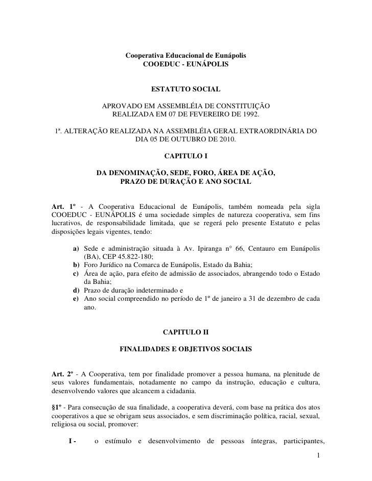 Cooperativa Educacional de Eunápolis                             COOEDUC - EUNÁPOLIS                                  ESTA...