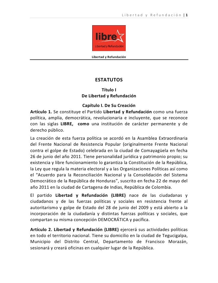 Libertad y Refundación  1                               Libertad y Refundación                                 ESTATUTOS  ...