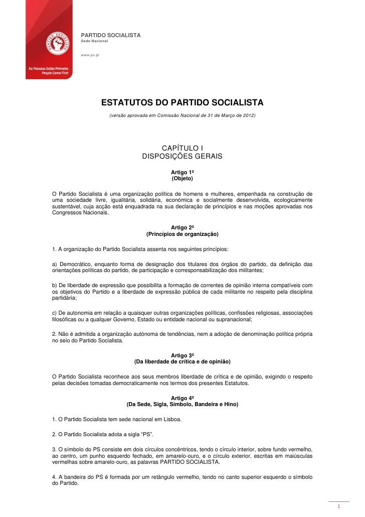 PARTIDO SOCIALISTA            Sede Nacional            www.ps.pt                        ESTATUTOS DO PARTIDO SOCIALISTA   ...