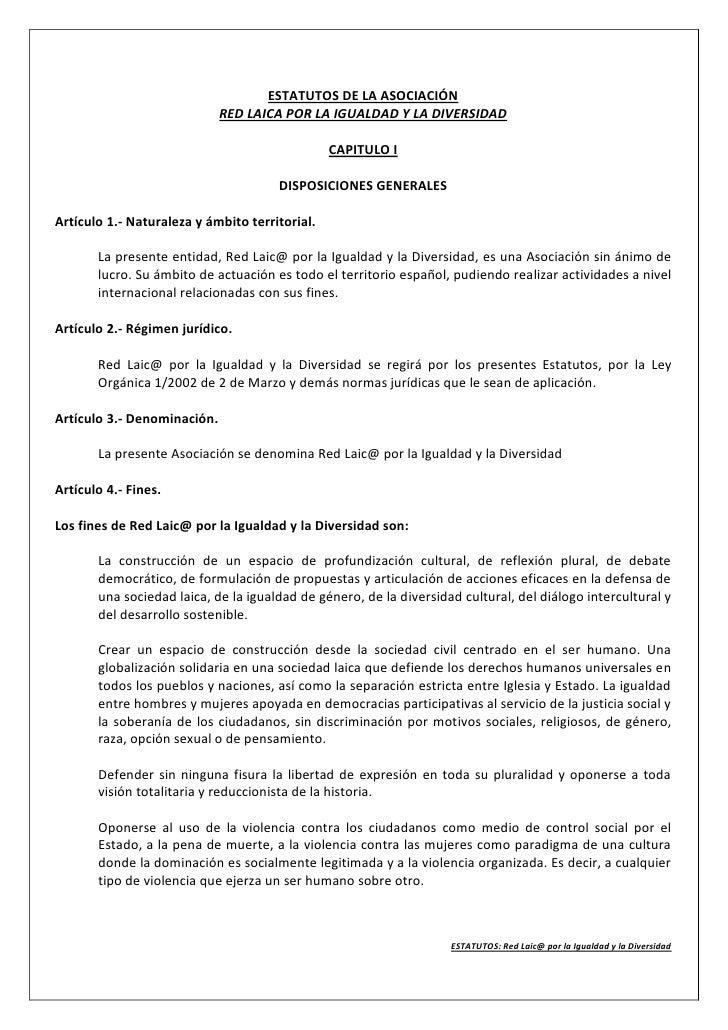 ESTATUTOS DE LA ASOCIACIÓN                              RED LAICA POR LA IGUALDAD Y LA DIVERSIDAD                         ...