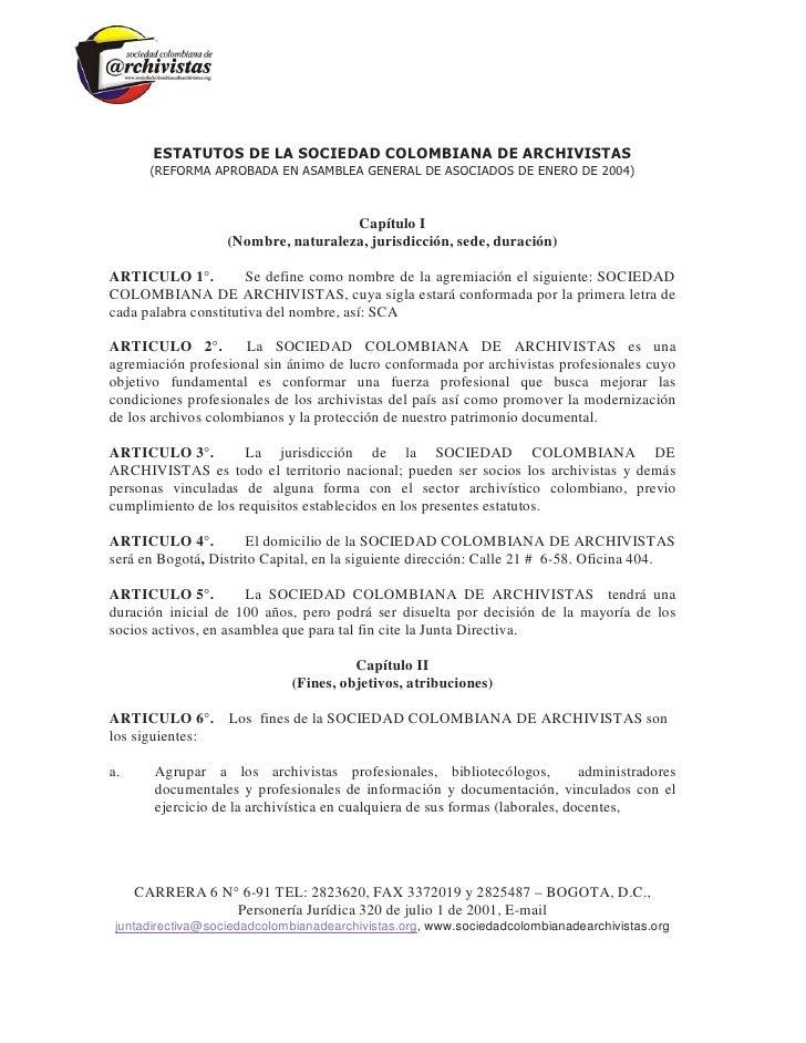 Estatutos sociedad colombiana de archivistas