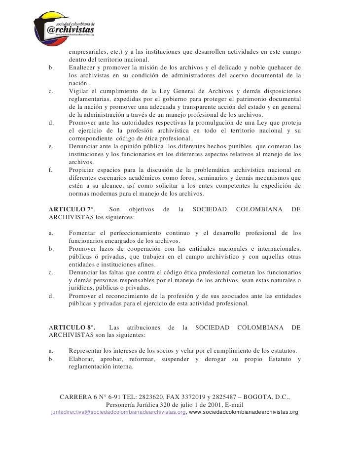 Estatutos sociedad colombiana de archivistas Slide 2