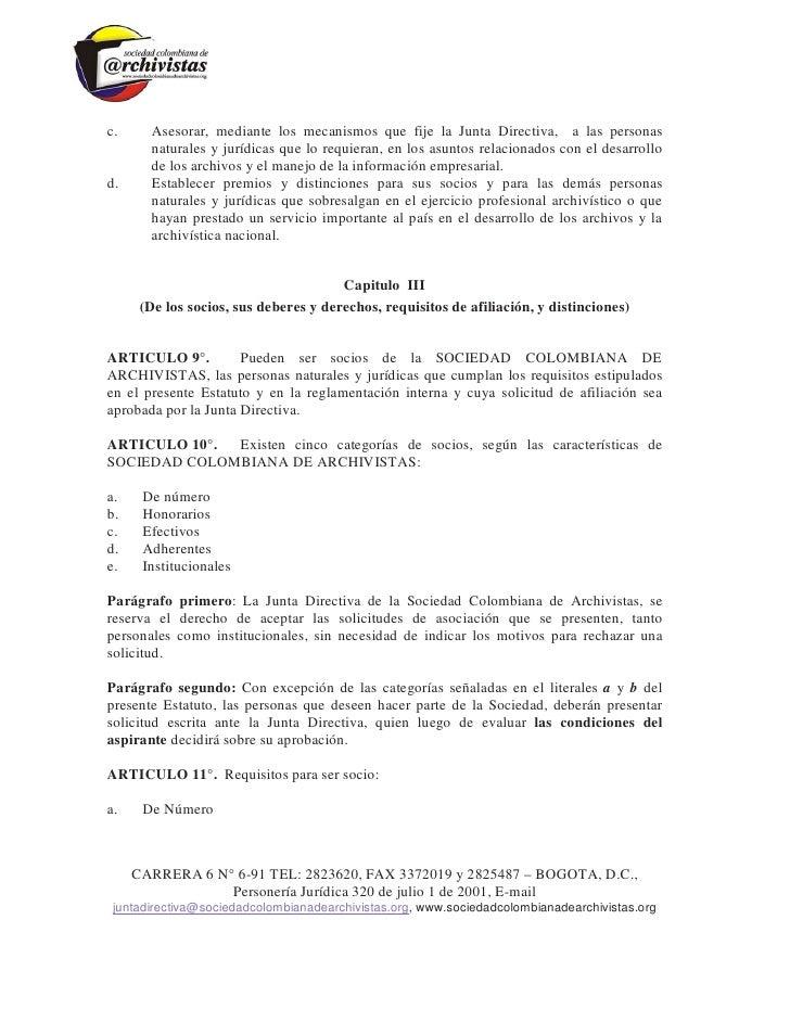 Estatutos sociedad colombiana de archivistas Slide 3