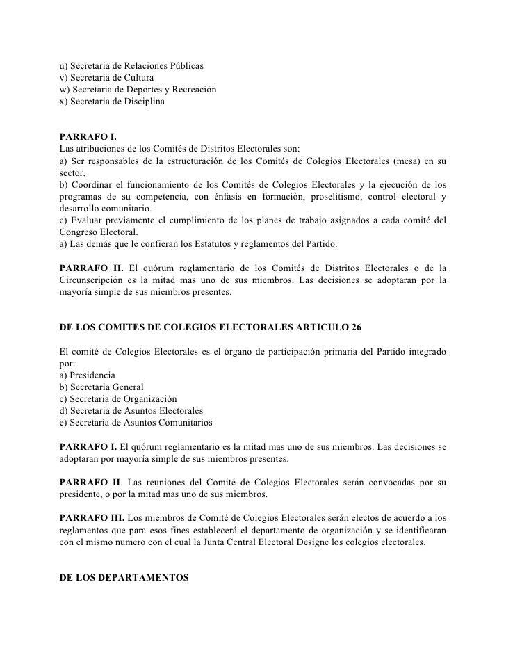 u) Secretaria de Relaciones Públicas v) Secretaria de Cultura w) Secretaria de Deportes y Recreación x) Secretaria de Disc...