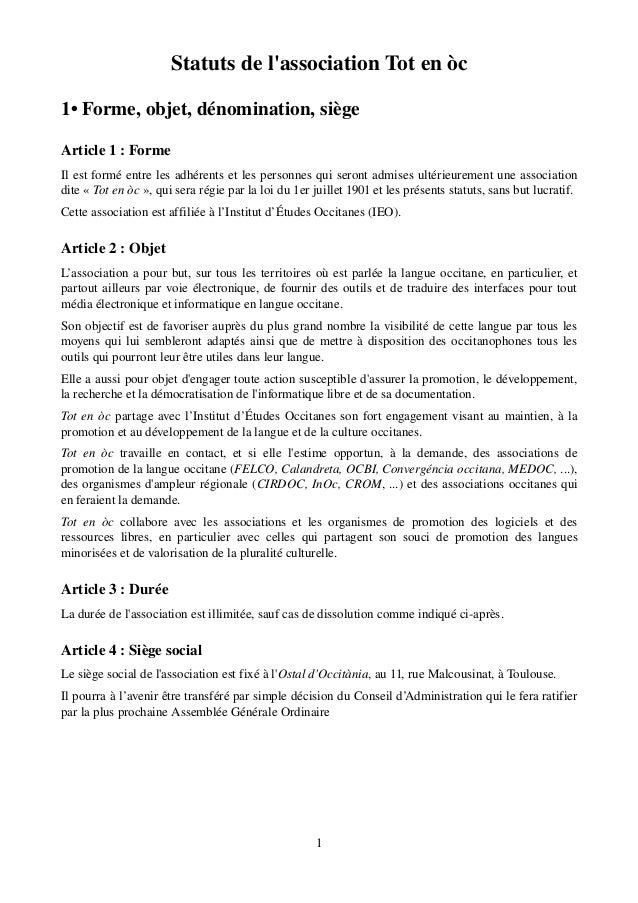 StatutsdelassociationTotenòc1•Forme,objet,dénomination,siègeArticle1:FormeIlestforméentrelesadhérentset...