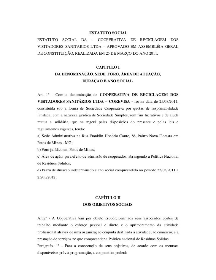 ESTATUTO SOCIALESTATUTO       SOCIAL      DA    –     COOPERATIVA        DE    RECICLAGEM          DOSVISITADORES SANITARI...