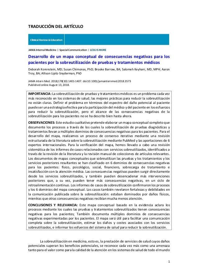 1 TRADUCCIÓN DEL ARTÍCULO Desarrollo de un mapa conceptual de consecuencias negativas para los pacientes por la sobreutili...