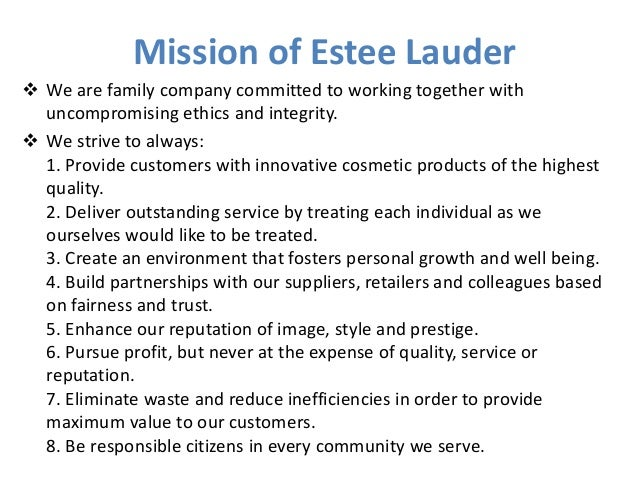 Estee lauder mission statement