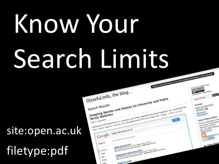 Know Your Search Limitssite:open.ac.ukfiletype:pdf