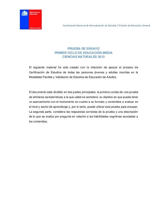 Coordinación Nacional de Normalización de Estudios / División de Educación General PRUEBA DE ENSAYO PRIMER CICLO DE EDUC...
