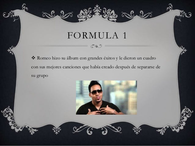 FORMULA 1  Romeo hizo su álbum con grandes éxitos y le dieron un cuadro con sus mejores canciones que había creado despué...