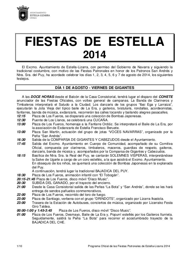 1/10 Programa Oficial de las Fiestas Patronales de Estella-Lizarra 2014 FIESTAS DE ESTELLA 2014 El Excmo. Ayuntamiento de ...