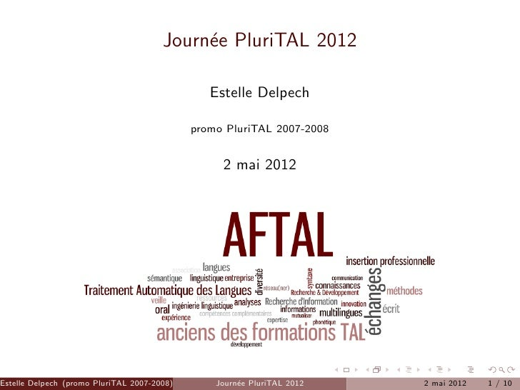 Journ´e PluriTAL 2012                                            e                                                Estelle ...