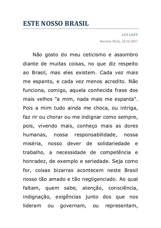 ESTE NOSSO BRASIL                                                    LYA LUFT                                       Revist...