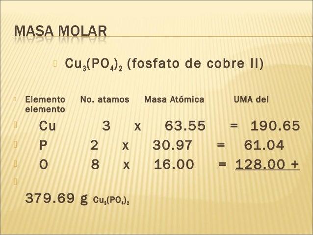  Cu3(PO4)2 (fosfato de cobre II)  Elemento No. atamos Masa Atómica UMA del elemento  Cu 3 x 63.55 = 190.65  P 2 x 30.9...