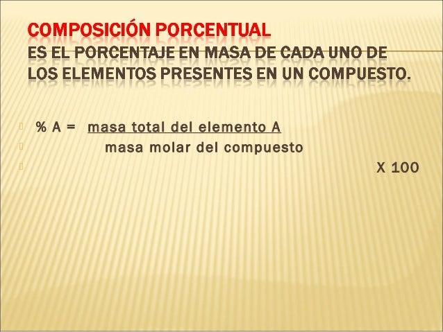 % A = masa total del elemento A  masa molar del compuesto  X 100