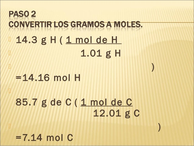 14.3 g H ( 1 mol de H  1.01 g H  ) =14.16 mol H  85.7 g de C ( 1 mol de C 12.01 g C  ) =7.14 mol C
