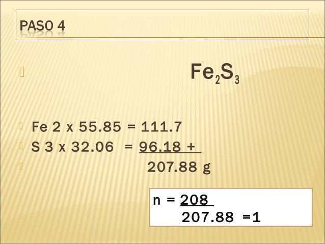  Fe2S3  Fe 2 x 55.85 = 111.7  S 3 x 32.06 = 96.18 +    207.88 g n = 208 207.88 =1