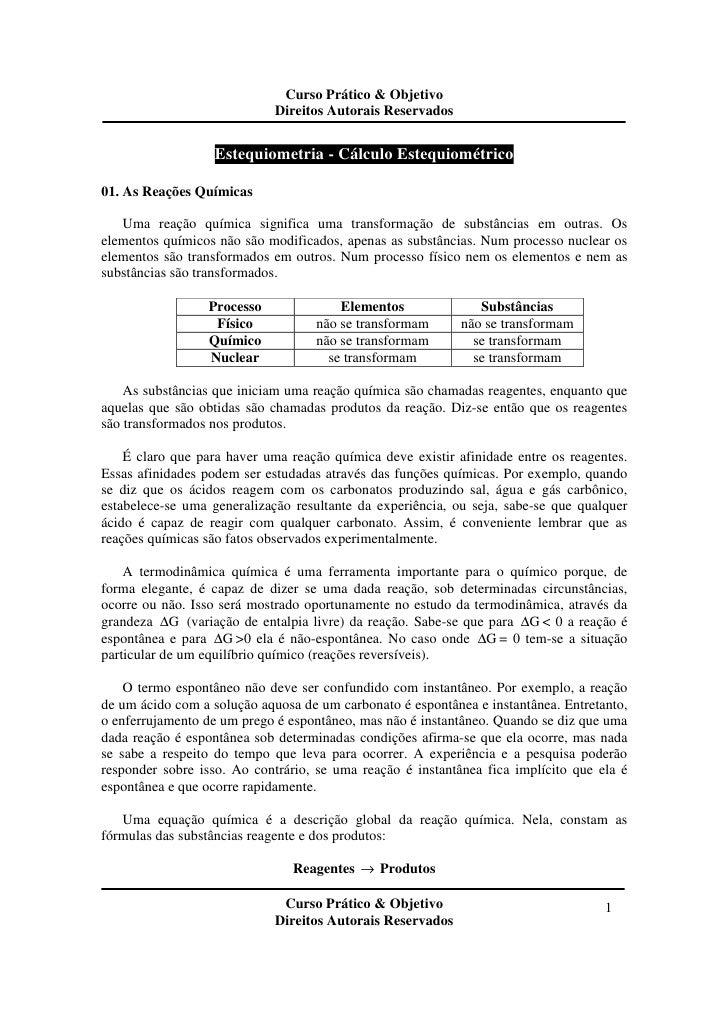 Curso Prático & Objetivo                             Direitos Autorais Reservados                   Estequiometria - Cálcu...