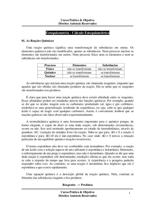 Curso Prático & Objetivo Direitos Autorais Reservados Curso Prático & Objetivo Direitos Autorais Reservados 1 Estequiometr...