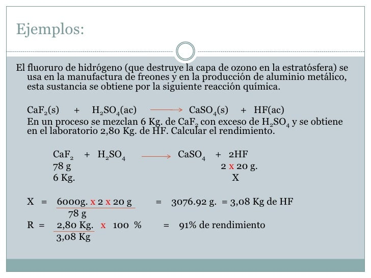 Perfecto EstequiometrÃa Hoja De Cálculo De Rendimiento 2 Por Ciento ...