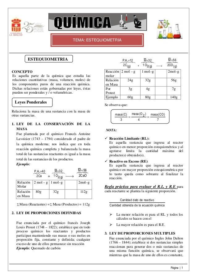 Página   1 TEMA: ESTEQUIOMETRIA CONCEPTO Es aquella parte de la química que estudia las relaciones cuantitativas (masa, vo...
