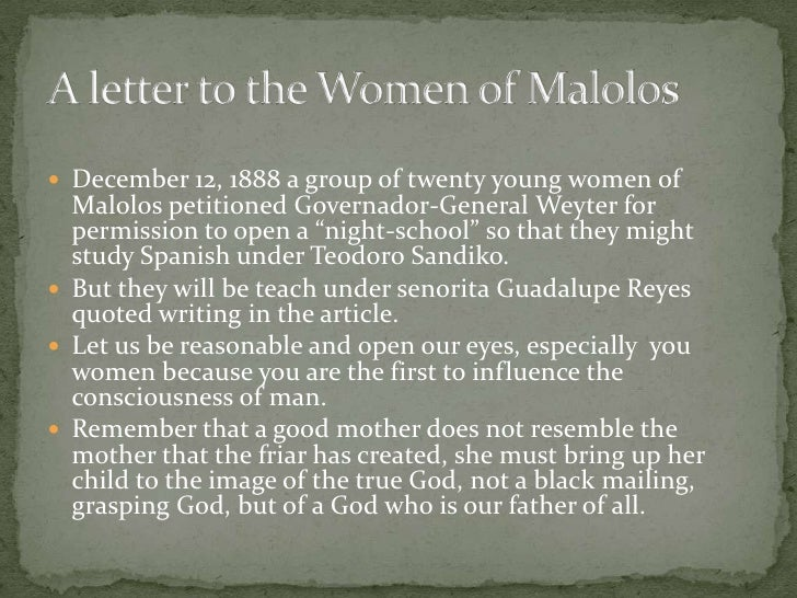 to the young women of malolos by jose rizal Philippine: rizal on women essays in his letter to the young women of malolos (188) philippine national hero dr jose rizal gave his views women in malolos are like flowers without perfurme and fruits without sap.
