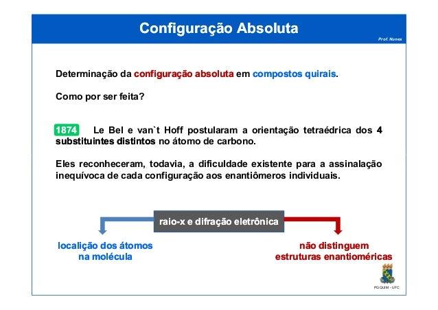 Prof. Nunes Configuração AbsolutaConfiguração Absoluta Determinação da configuraçãoconfiguração absolutaabsoluta em compos...