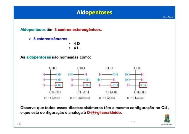 Prof. Nunes AldopentosesAldopentoses têm 33 centroscentros estereogênicosestereogênicos. 8 estereoisômeros 4 DD 4 LL As al...