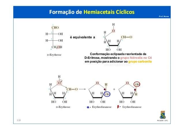 Prof. Nunes Formação de Hemiacetais CíclicosFormação de Hemiacetais Cíclicos é equivalente a Conformação eclipsada reorien...