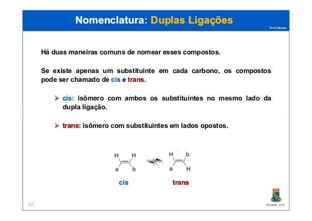 Prof. Nunes Há duas maneiras comuns de nomear esses compostos. Se existe apenas um substituinte em cada carbono, os compos...