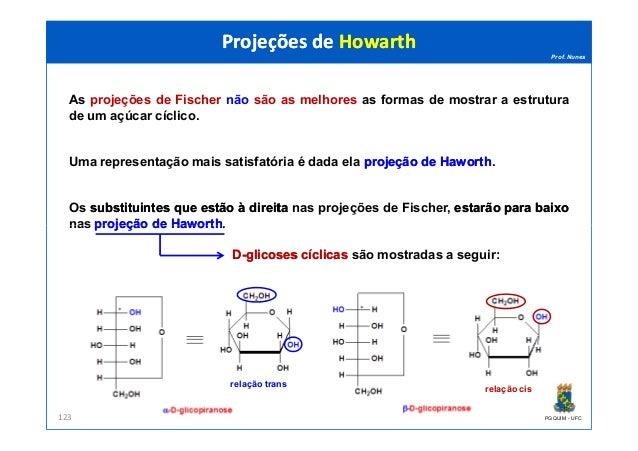 Prof. Nunes As projeções de Fischer não são as melhores as formas de mostrar a estrutura de um açúcar cíclico. Uma represe...