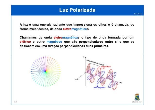 Prof. Nunes Luz PolarizadaLuz Polarizada A luz é uma energia radiante que impressiona os olhos e é chamada, de forma mais ...