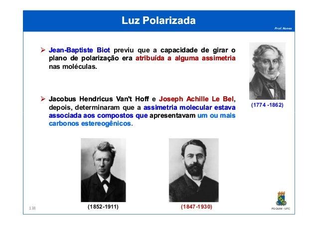 Prof. Nunes Luz PolarizadaLuz Polarizada JeanJean--BaptisteBaptiste BiotBiot previu que a capacidadecapacidade dede girarg...
